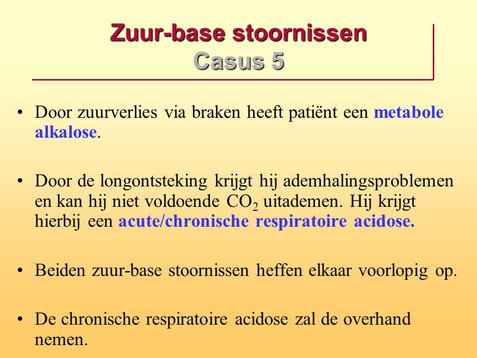Zuur-base stoornissen Casus 5 Door zuurverlies via braken heeft patiënt een metabole alkalose. Door de longontsteking krijgt hij ademhalingsproblemen