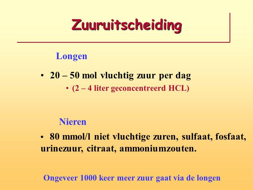 Zuuruitscheiding 20 – 50 mol vluchtig zuur per dag (2 – 4 liter geconcentreerd HCL) Longen Nieren 80 mmol/l niet vluchtige zuren, sulfaat, fosfaat, ur