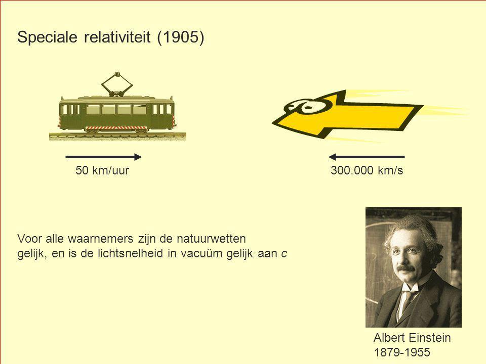 Speciale relativiteit (1905) 300.000 km/s Albert Einstein 1879-1955 Voor alle waarnemers zijn de natuurwetten gelijk, en is de lichtsnelheid in vacuüm