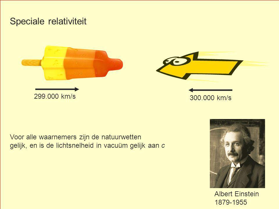 300.000 km/s Albert Einstein 1879-1955 299.000 km/s Speciale relativiteit Voor alle waarnemers zijn de natuurwetten gelijk, en is de lichtsnelheid in