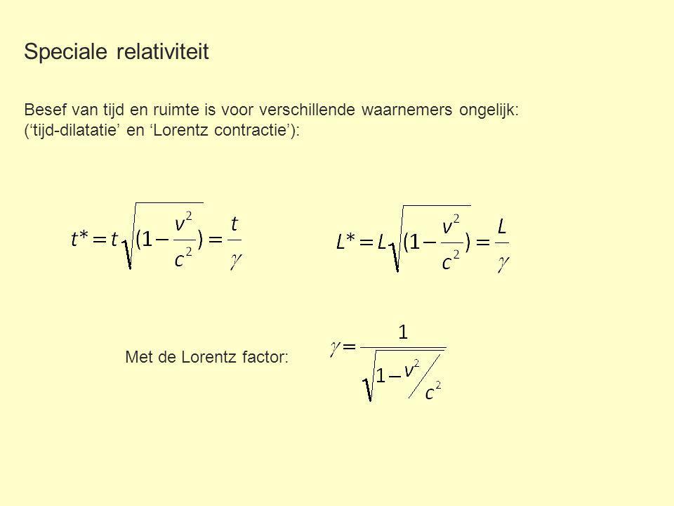 Speciale relativiteit Besef van tijd en ruimte is voor verschillende waarnemers ongelijk: ('tijd-dilatatie' en 'Lorentz contractie'): Met de Lorentz factor:
