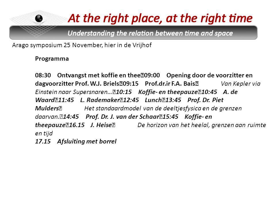 Arago symposium 25 November, hier in de Vrijhof Programma 08:30 Ontvangst met koffie en thee 09:00 Opening door de voorzitter en dagvoorzitter Prof.