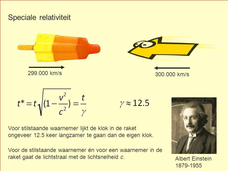 300.000 km/s Albert Einstein 1879-1955 299.000 km/s Voor stilstaande waarnemer lijkt de klok in de raket ongeveer 12.5 keer langzamer te gaan dan de eigen klok.