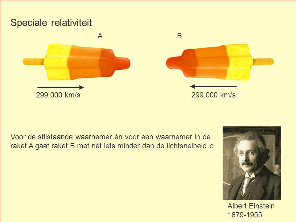 Voor de stilstaande waarnemer én voor een waarnemer in de raket A gaat raket B met nét iets minder dan de lichtsnelheid c.