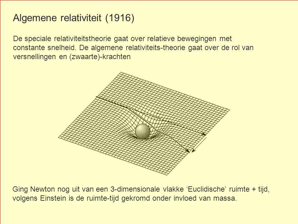 Algemene relativiteit (1916) De speciale relativiteitstheorie gaat over relatieve bewegingen met constante snelheid. De algemene relativiteits-theorie