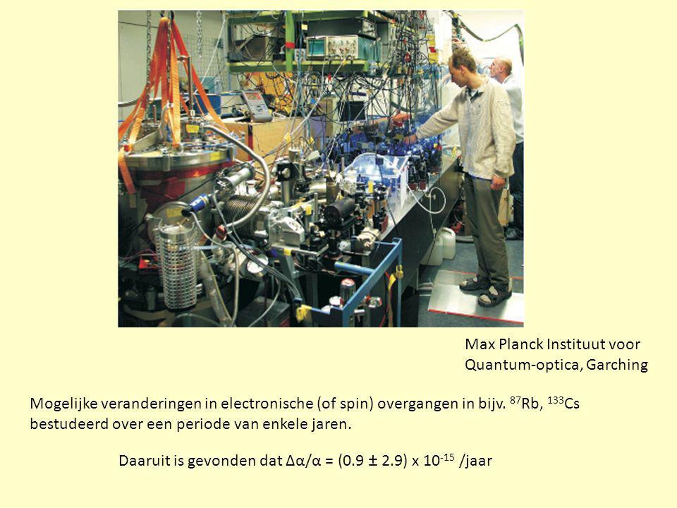Max Planck Instituut voor Quantum-optica, Garching Mogelijke veranderingen in electronische (of spin) overgangen in bijv. 87 Rb, 133 Cs bestudeerd ove