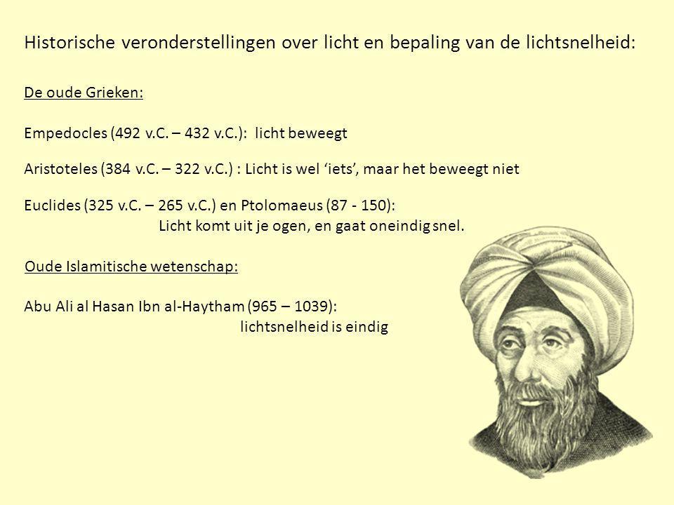 Historische veronderstellingen over licht en bepaling van de lichtsnelheid: Abu Ali al Hasan Ibn al-Haytham (965 – 1039): lichtsnelheid is eindig De oude Grieken: Empedocles (492 v.C.