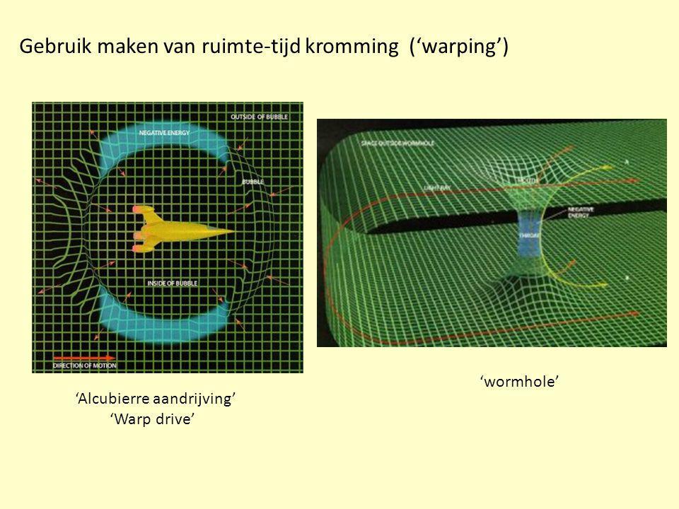 Gebruik maken van ruimte-tijd kromming ('warping') 'wormhole' 'Alcubierre aandrijving' 'Warp drive'