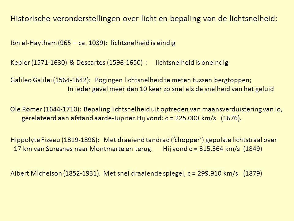 Ibn al-Haytham (965 – ca. 1039): lichtsnelheid is eindig Galileo Galilei (1564-1642): Pogingen lichtsnelheid te meten tussen bergtoppen; In ieder geva