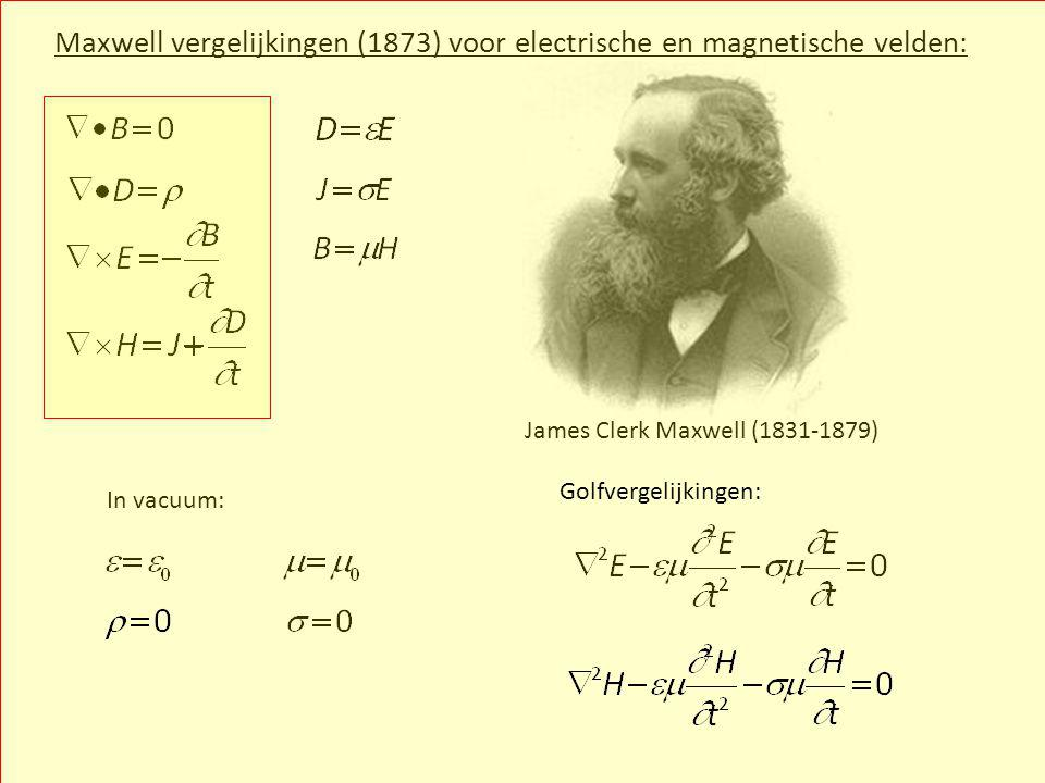 Maxwell vergelijkingen (1873) voor electrische en magnetische velden: In vacuum: James Clerk Maxwell (1831-1879) Golfvergelijkingen: