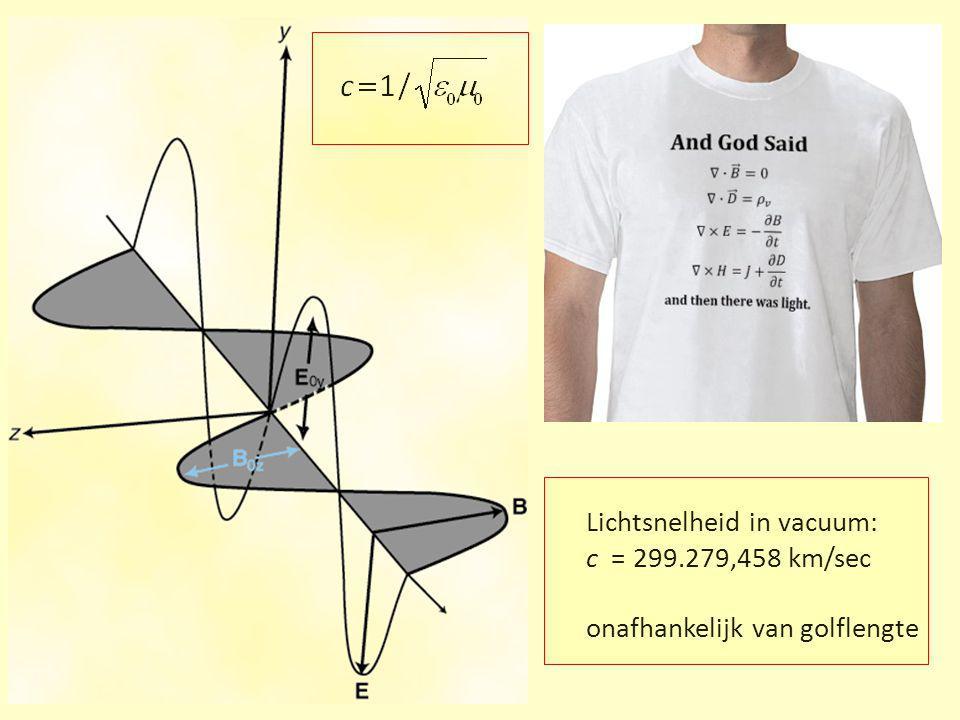 Lichtsnelheid in vacuum: c = 299.279,458 km/sec onafhankelijk van golflengte