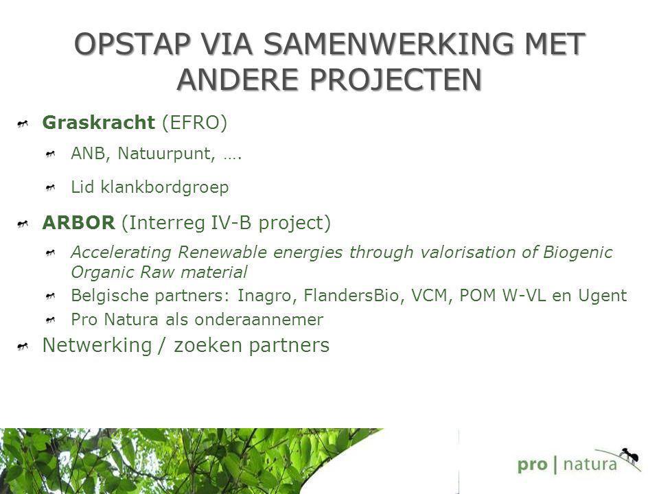 OPSTAP VIA SAMENWERKING MET ANDERE PROJECTEN Graskracht (EFRO) ANB, Natuurpunt, …. Lid klankbordgroep ARBOR (Interreg IV-B project) Accelerating Renew