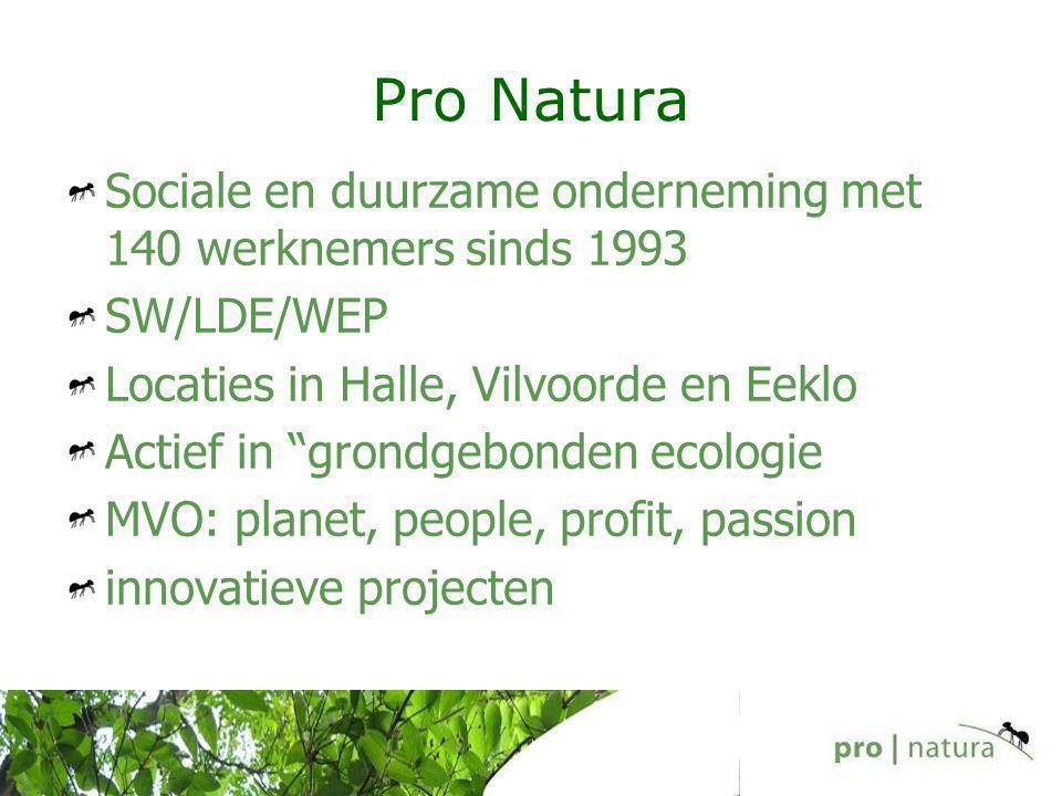 """Sociale en duurzame onderneming met 140 werknemers sinds 1993 SW/LDE/WEP Locaties in Halle, Vilvoorde en Eeklo Actief in """"grondgebonden ecologie MVO:"""