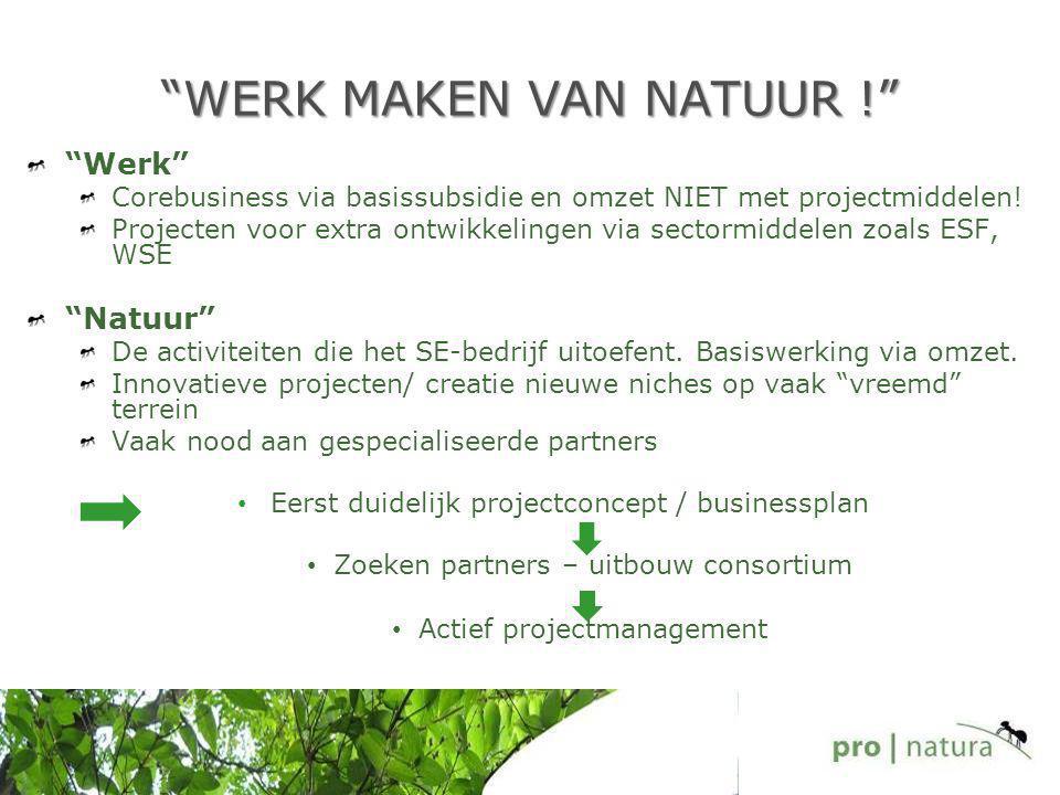 """""""WERK MAKEN VAN NATUUR !"""" """"Werk"""" Corebusiness via basissubsidie en omzet NIET met projectmiddelen! Projecten voor extra ontwikkelingen via sectormidde"""