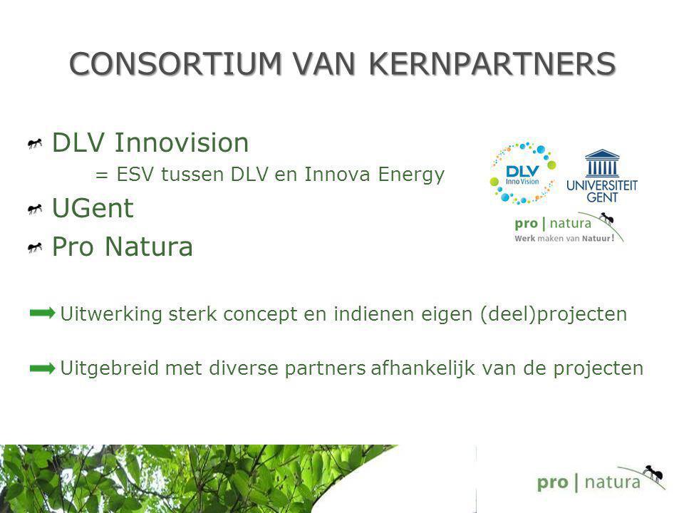 CONSORTIUM VAN KERNPARTNERS DLV Innovision = ESV tussen DLV en Innova Energy UGent Pro Natura Uitwerking sterk concept en indienen eigen (deel)projecten Uitgebreid met diverse partners afhankelijk van de projecten