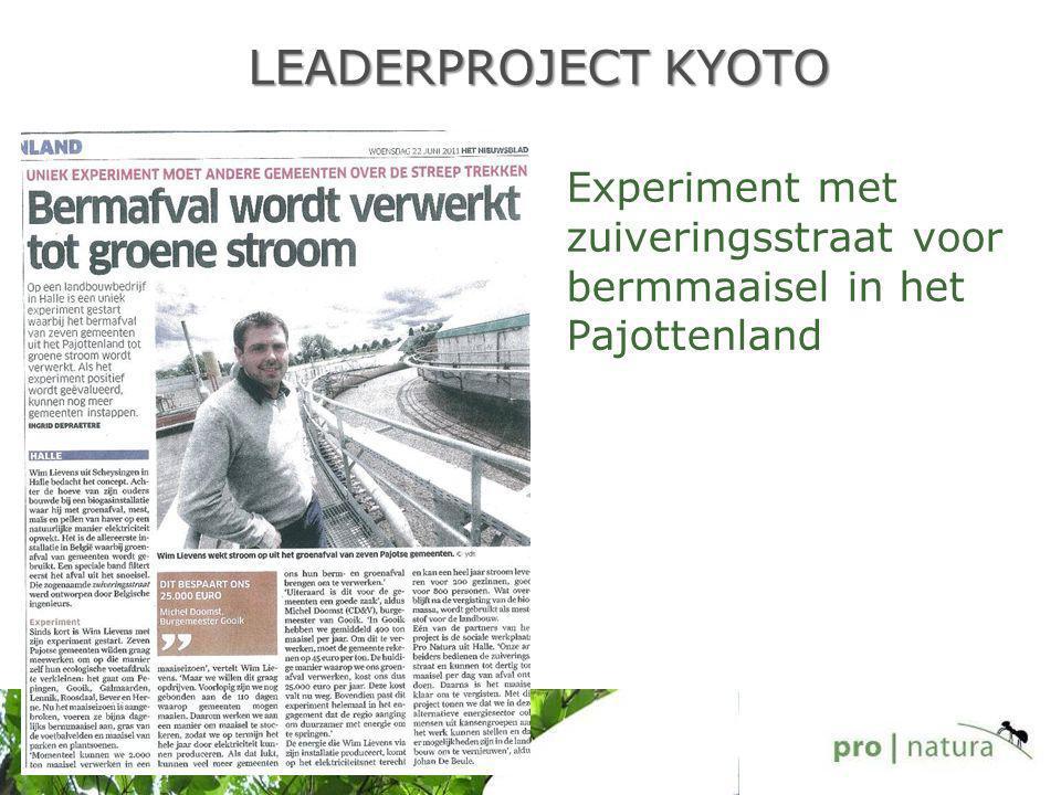 LEADERPROJECT KYOTO Experiment met zuiveringsstraat voor bermmaaisel in het Pajottenland
