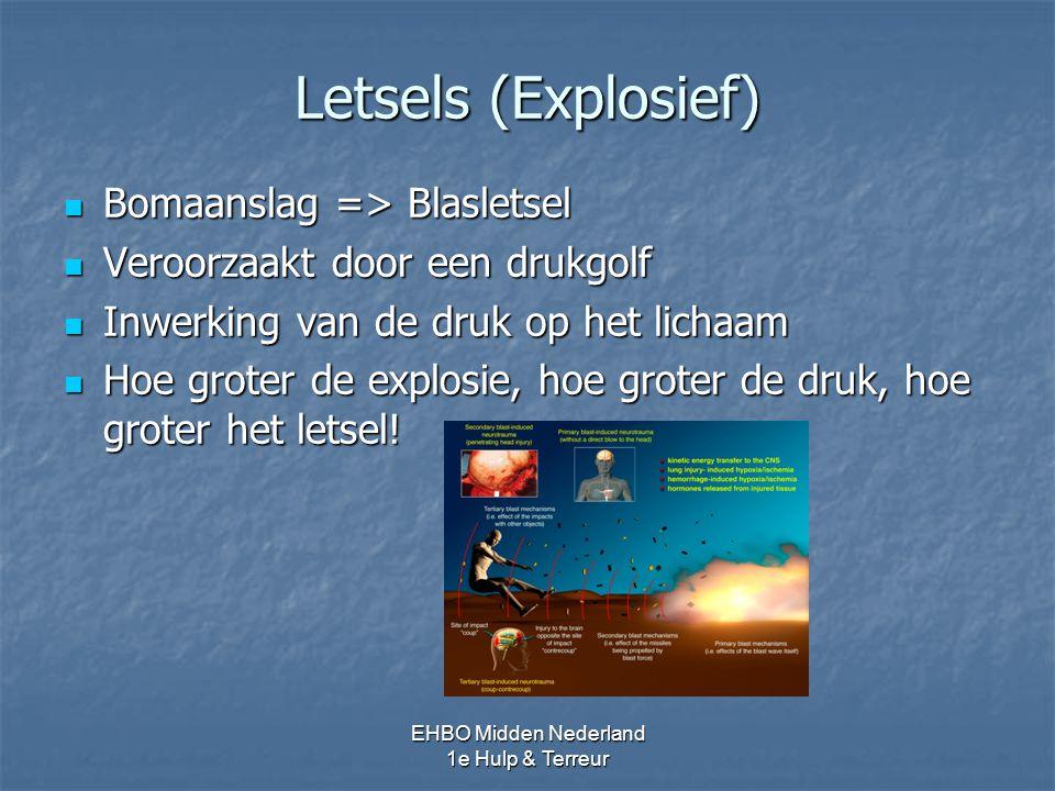 Letsels (Explosief) Bomaanslag => Blasletsel Bomaanslag => Blasletsel Veroorzaakt door een drukgolf Veroorzaakt door een drukgolf Inwerking van de dru