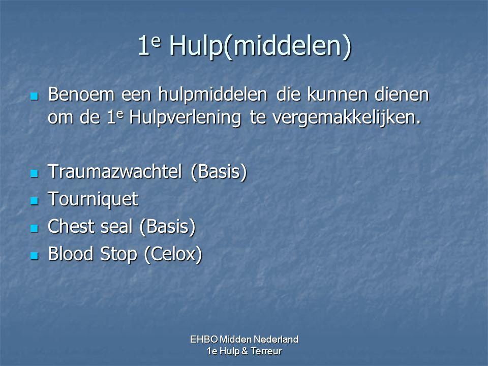 1 e Hulp(middelen) Benoem een hulpmiddelen die kunnen dienen om de 1 e Hulpverlening te vergemakkelijken. Benoem een hulpmiddelen die kunnen dienen om