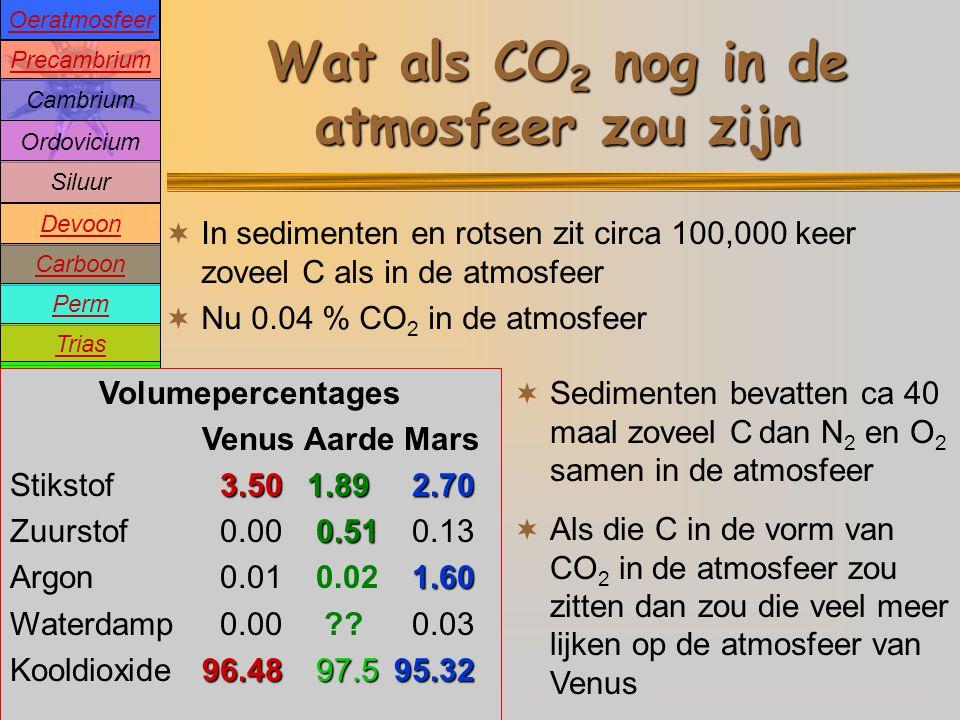 Precambrium Cambrium Devoon Carboon Perm Trias Jura Krijt Tertiair Pleistoceen Holoceen Ordovicium Siluur Oeratmosfeer Wat als CO 2 nog in de atmosfeer zou zijn  In sedimenten en rotsen zit circa 100,000 keer zoveel C als in de atmosfeer  Nu 0.04 % CO 2 in de atmosfeer  Sedimenten bevatten ca 40 maal zoveel C dan N 2 en O 2 samen in de atmosfeer Volumepercentages Venus Aarde Mars 3.5077.872.70 Stikstof 3.5077.87 2.70 20.89 Zuurstof 0.0020.89 0.13 1.60 Argon 0.01 0.94 1.60 Waterdamp 0.00 0.26 0.03 96.480.0495.32 Kooldioxide96.48 0.0495.32 Volumepercentages Venus Aarde Mars 3.50 1.892.70 Stikstof 3.50 1.89 2.70 0.51 Zuurstof 0.00 0.51 0.13 1.60 Argon 0.01 0.02 1.60 Waterdamp 0.00 ?.