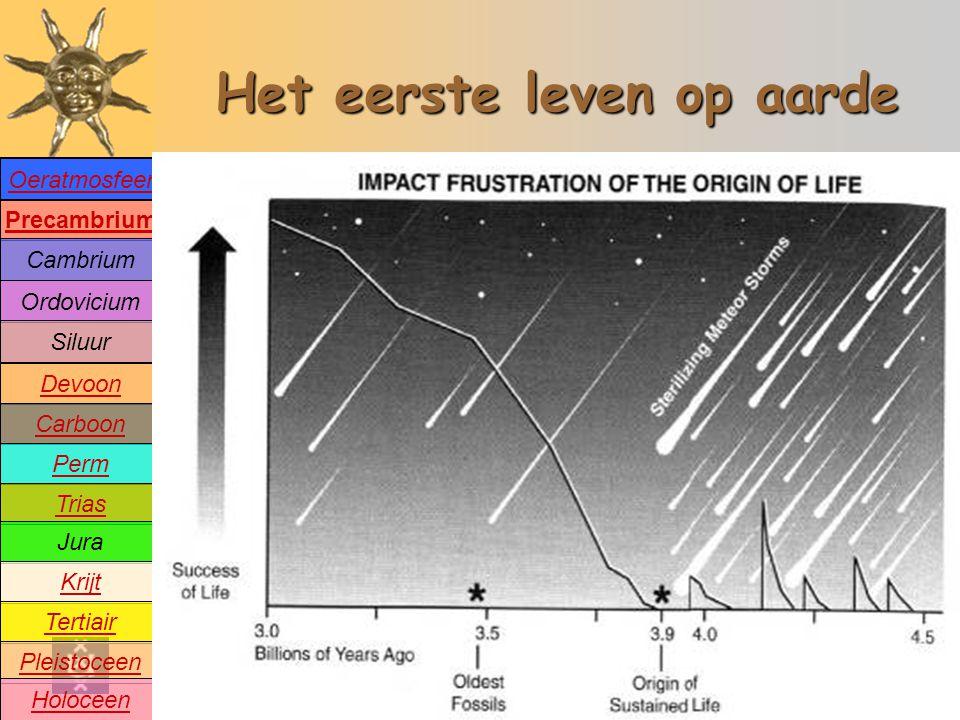 Precambrium Cambrium Devoon Carboon Perm Trias Jura Krijt Tertiair Pleistoceen Holoceen Ordovicium Siluur Oeratmosfeer Het eerste leven op aarde