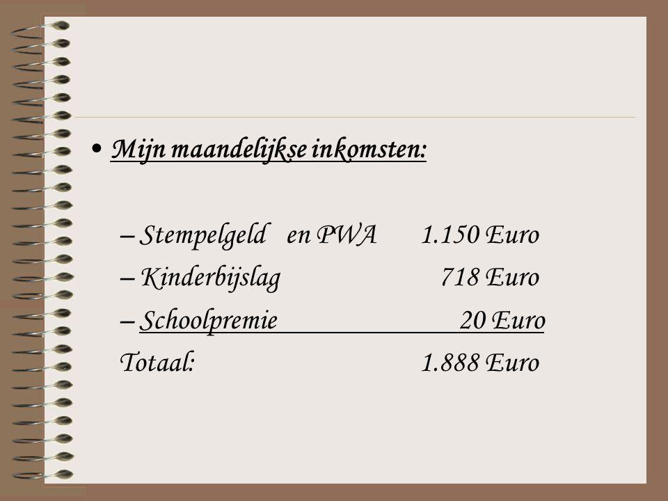 Mijn maandelijkse inkomsten: –Stempelgelden PWA1.150 Euro –Kinderbijslag 718 Euro –Schoolpremie 20 Euro Totaal:1.888 Euro