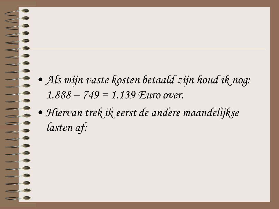 Als mijn vaste kosten betaald zijn houd ik nog: 1.888 – 749 = 1.139 Euro over. Hiervan trek ik eerst de andere maandelijkse lasten af: