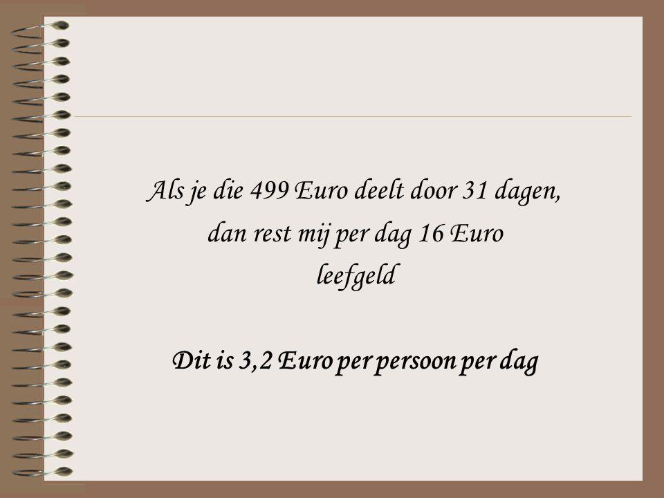Als je die 499 Euro deelt door 31 dagen, dan rest mij per dag 16 Euro leefgeld Dit is 3,2 Euro per persoon per dag