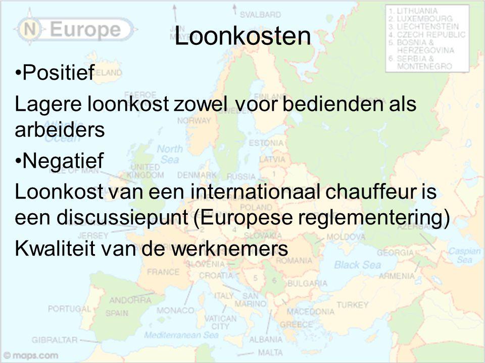 Loonkosten Positief Lagere loonkost zowel voor bedienden als arbeiders Negatief Loonkost van een internationaal chauffeur is een discussiepunt (Europe