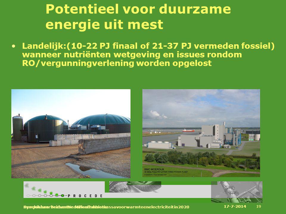 Potentieel voor duurzame energie uit mest Landelijk:(10-22 PJ finaal of 21-37 PJ vermeden fossiel) wanneer nutriënten wetgeving en issues rondom RO/ve