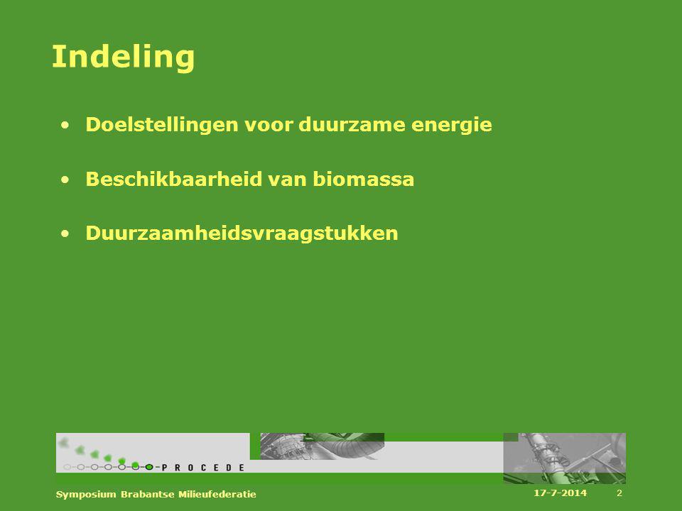 Beschikbaarheid in 2020 17-7-2014 Symposium Brabantse Milieufederatie 13 2009 1 Global Economy) 2 (Transatlantic Market) 3 (Strong Europe) 4 (Regional Communities) kton ds 11.4 (48.3) 13.6 (50) 13 (46.5) 16.3 (47.6) 15.5 (46) PJ LHV 136 (555) 171 (510) 164 (480) 173 (489) 173 (481) PJ HHV 194 (876) 229 (904) 223 (842) 275 (863) 268 (836) PJ Electriciteit 32 35 37 48 50 PJ Warmte 19 21 29 36 PJ Gas- 1 1 13 10 PJ finaal 51 58 59 90 96 PJ vermeden fossiel 93 102 106 150 159
