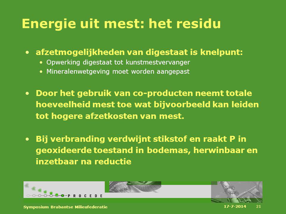 Energie uit mest: het residu afzetmogelijkheden van digestaat is knelpunt: Opwerking digestaat tot kunstmestvervanger Mineralenwetgeving moet worden a