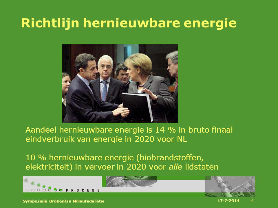 Richtlijn hernieuwbare energie Aandeel hernieuwbare energie is 14 % in bruto finaal eindverbruik van energie in 2020 voor NL 10 % hernieuwbare energie