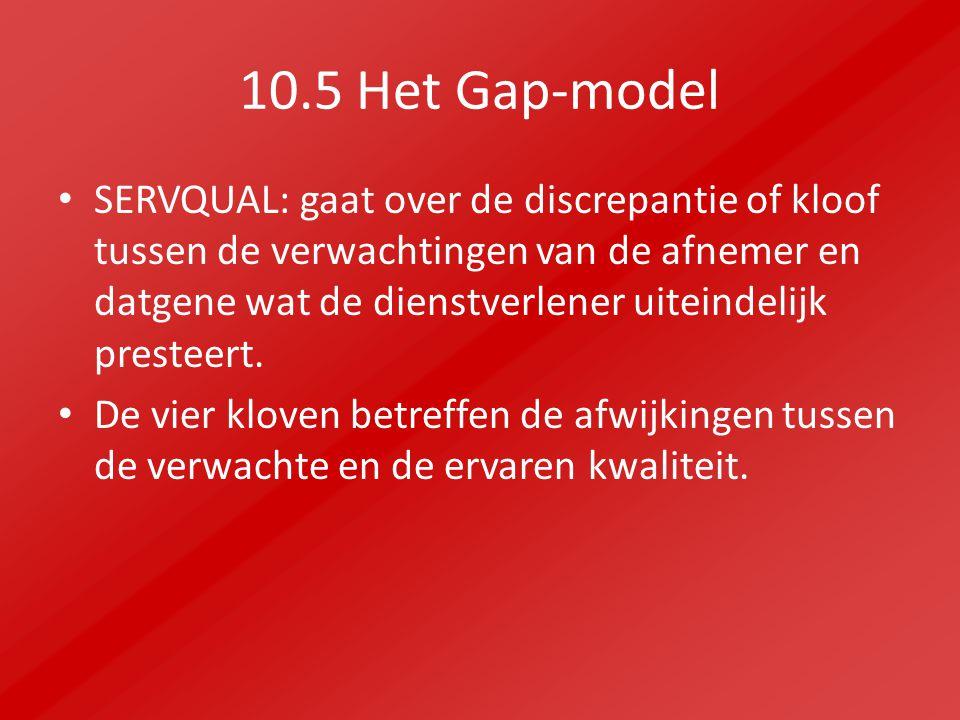10.5 Het Gap-model SERVQUAL: gaat over de discrepantie of kloof tussen de verwachtingen van de afnemer en datgene wat de dienstverlener uiteindelijk presteert.