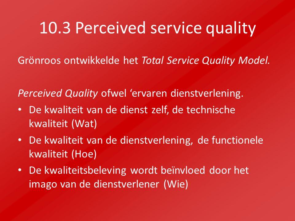 10.3 Perceived service quality Grönroos ontwikkelde het Total Service Quality Model.