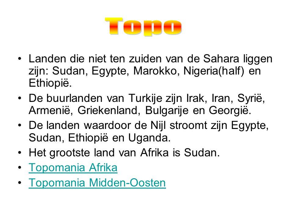 Landen die niet ten zuiden van de Sahara liggen zijn: Sudan, Egypte, Marokko, Nigeria(half) en Ethiopië.