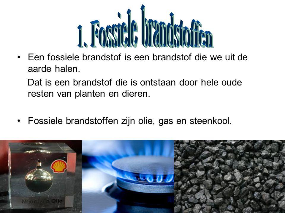 Een fossiele brandstof is een brandstof die we uit de aarde halen.