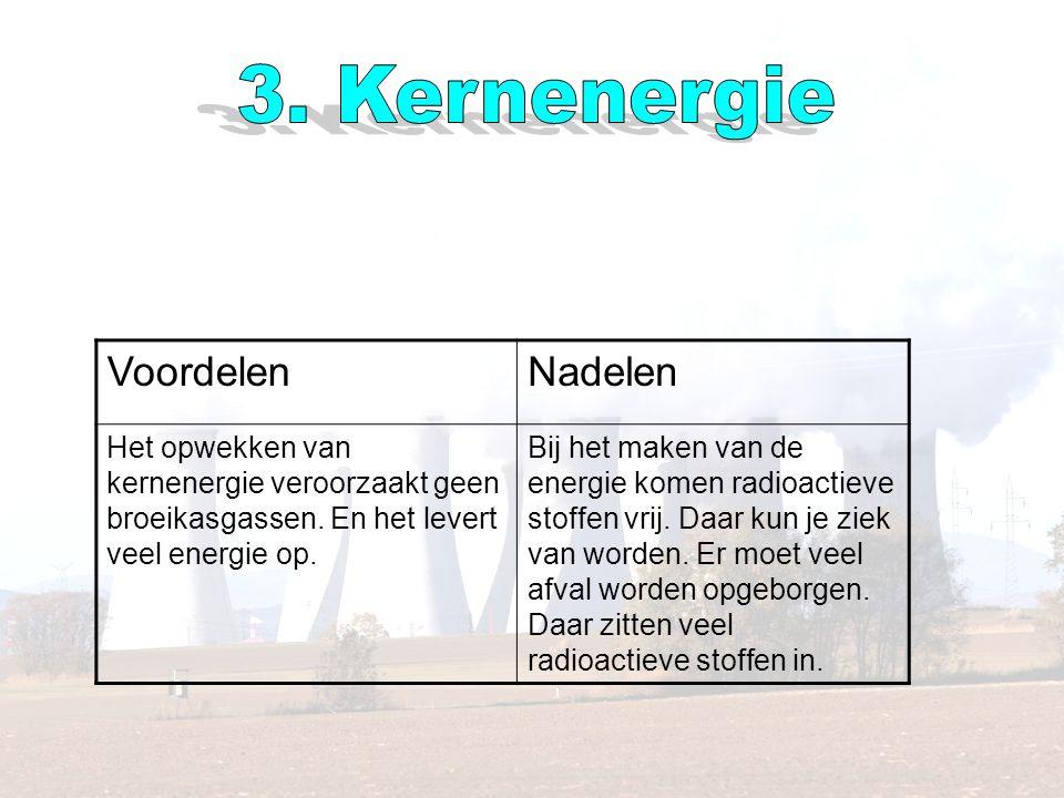 VoordelenNadelen Het opwekken van kernenergie veroorzaakt geen broeikasgassen.