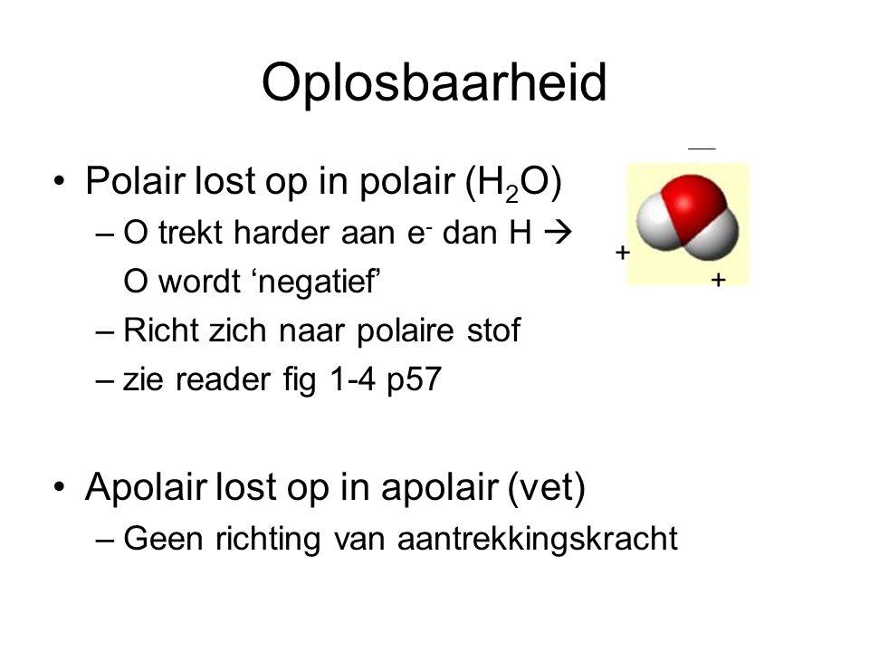 Oplosbaarheid Polair lost op in polair (H 2 O) –O trekt harder aan e - dan H  O wordt 'negatief' –Richt zich naar polaire stof –zie reader fig 1-4 p57 Apolair lost op in apolair (vet) –Geen richting van aantrekkingskracht + +