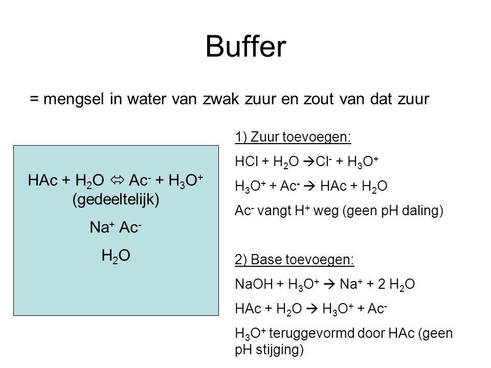 Buffer = mengsel in water van zwak zuur en zout van dat zuur HAc + H 2 O  Ac - + H 3 O + (gedeeltelijk) Na + Ac - H 2 O 1) Zuur toevoegen: HCl + H 2 O  Cl - + H 3 O + H 3 O + + Ac -  HAc + H 2 O Ac - vangt H + weg (geen pH daling) 2) Base toevoegen: NaOH + H 3 O +  Na + + 2 H 2 O HAc + H 2 O  H 3 O + + Ac - H 3 O + teruggevormd door HAc (geen pH stijging)