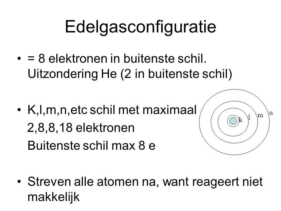 Edelgasconfiguratie = 8 elektronen in buitenste schil.