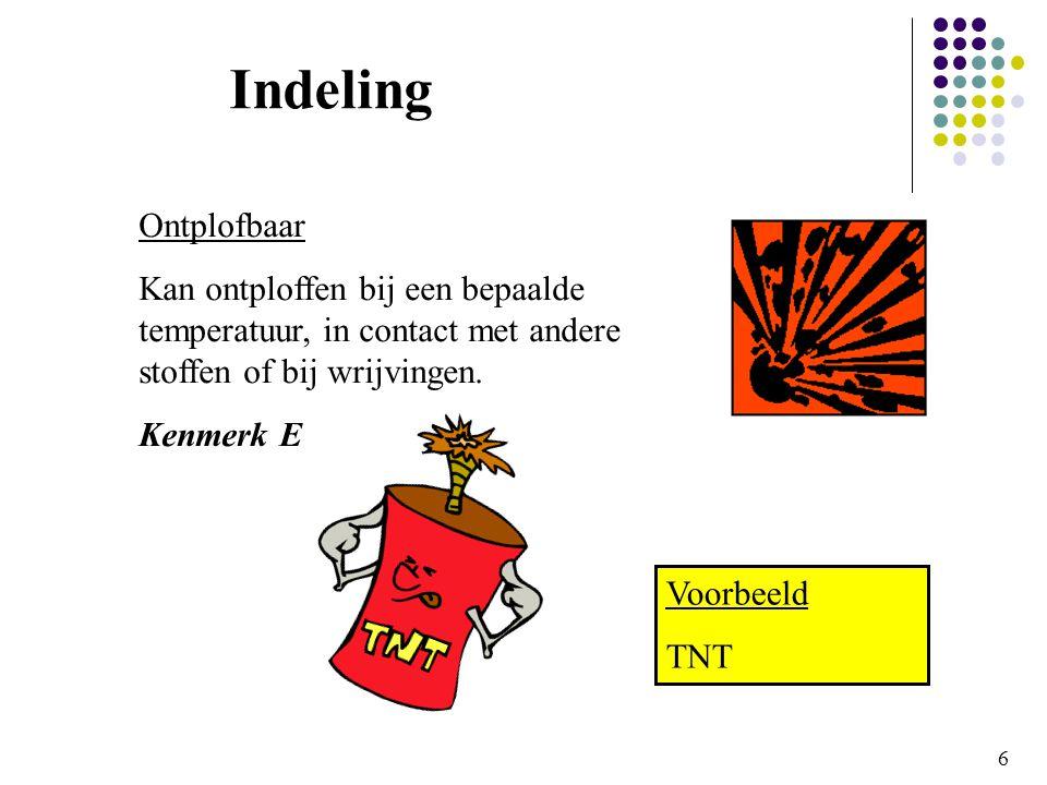 6 Indeling Ontplofbaar Kan ontploffen bij een bepaalde temperatuur, in contact met andere stoffen of bij wrijvingen.