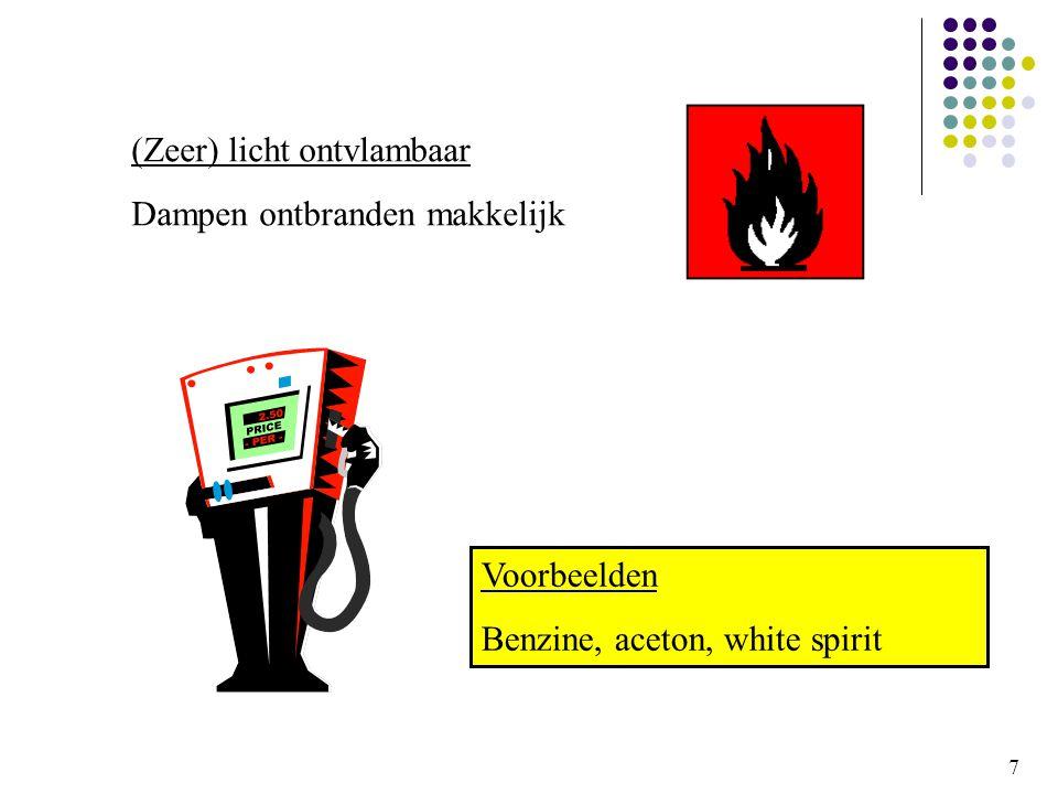 7 (Zeer) licht ontvlambaar Dampen ontbranden makkelijk Voorbeelden Benzine, aceton, white spirit