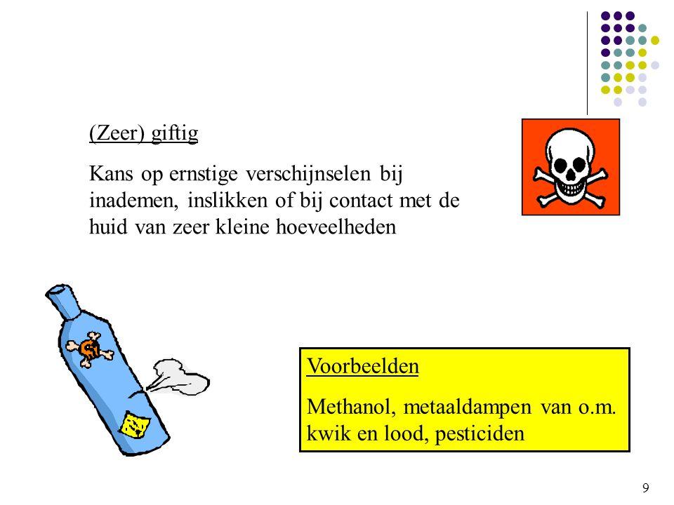 9 (Zeer) giftig Kans op ernstige verschijnselen bij inademen, inslikken of bij contact met de huid van zeer kleine hoeveelheden Voorbeelden Methanol, metaaldampen van o.m.