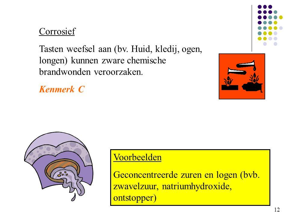 12 Corrosief Tasten weefsel aan (bv.