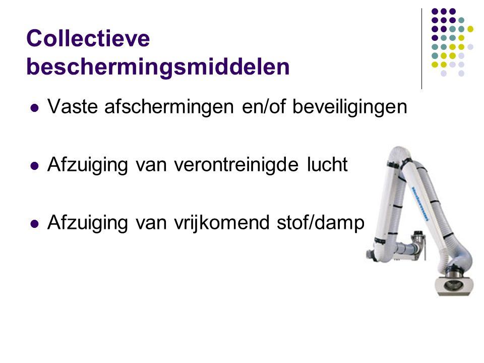 Vaste afschermingen en/of beveiligingen Afzuiging van verontreinigde lucht Afzuiging van vrijkomend stof/damp Collectieve beschermingsmiddelen
