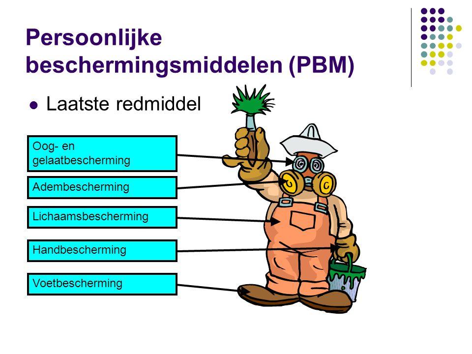 Laatste redmiddel Persoonlijke beschermingsmiddelen (PBM) Oog- en gelaatbescherming AdembeschermingLichaamsbeschermingHandbeschermingVoetbescherming