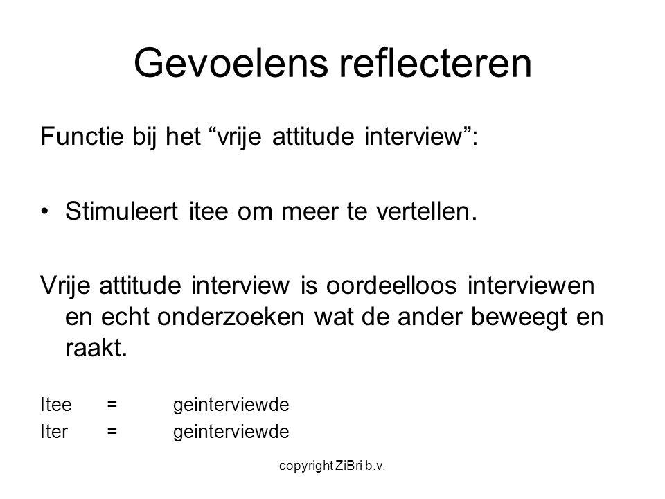 """copyright ZiBri b.v. Gevoelens reflecteren Functie bij het """"vrije attitude interview"""": Stimuleert itee om meer te vertellen. Vrije attitude interview"""