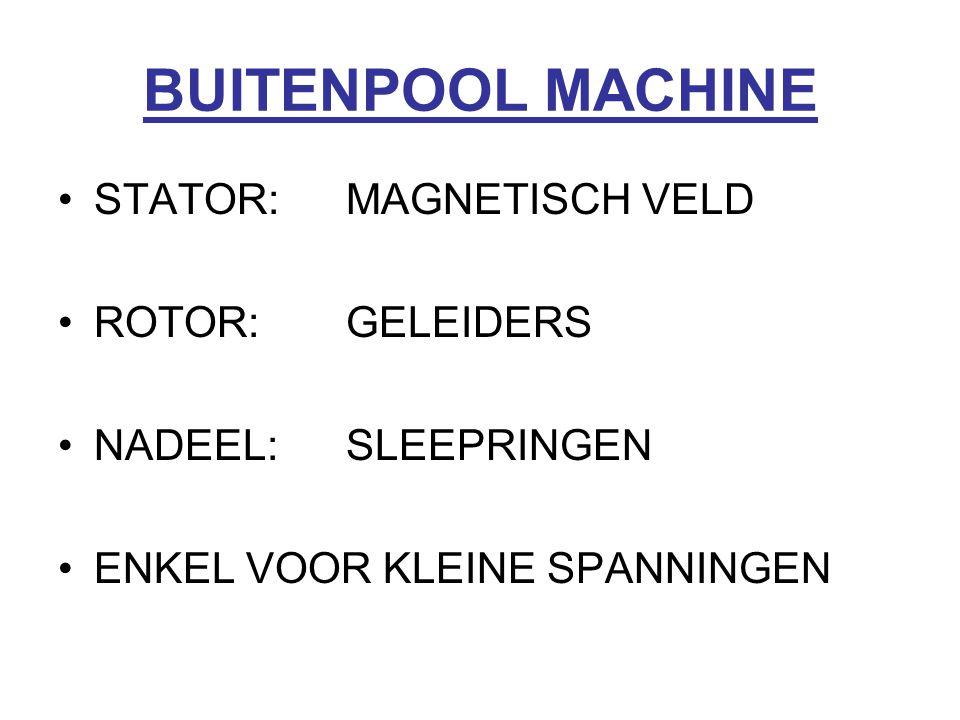 BUITENPOOL MACHINE STATOR:MAGNETISCH VELD ROTOR:GELEIDERS NADEEL:SLEEPRINGEN ENKEL VOOR KLEINE SPANNINGEN