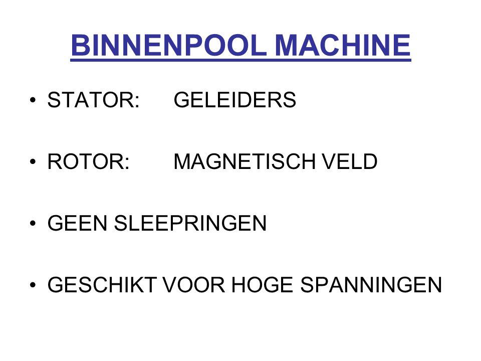 BINNENPOOL MACHINE STATOR:GELEIDERS ROTOR:MAGNETISCH VELD GEEN SLEEPRINGEN GESCHIKT VOOR HOGE SPANNINGEN