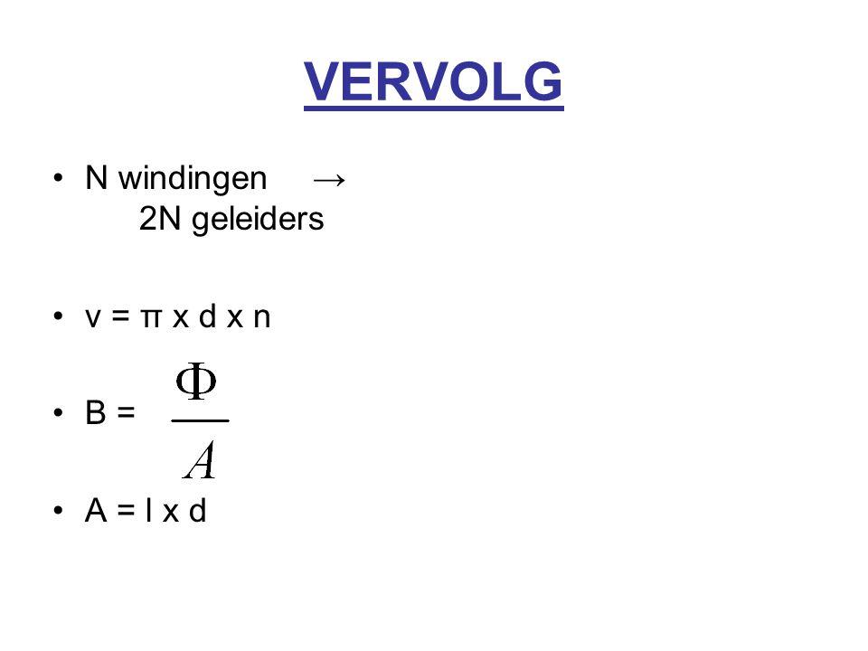 VERVOLG N windingen→ 2N geleiders v = π x d x n B = A = l x d